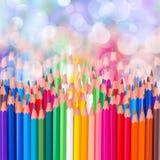 Zurück zu Schulbunter Bleistiftgrenze Lizenzfreie Stockbilder