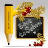 Zurück zu Schuldesign mit Bleistift als Baum, Blätter, Ebereschenbeeren vektor abbildung