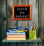 Zurück zu Schule Bücher und Schulwerkzeuge Lizenzfreie Stockfotos