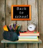 Zurück zu Schule Bücher und Schulwerkzeuge Lizenzfreie Stockbilder