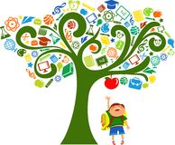 Zurück zu Schule - Baum mit Ausbildungsikonen Lizenzfreie Stockfotografie