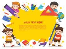 Zurück zu Schule Glückliche Kinder mit Elementen der Schule schablone Stockfotografie
