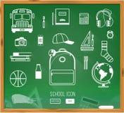 Zurück zu Schule-Hintergrund (EPS+JPG) Grüner Schreibtisch mit Schule Stockfoto