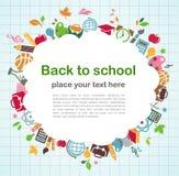Zurück zu Schule - Hintergrund mit Ausbildungsikonen Stockfotografie