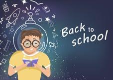 Zurück zu Schule, Kind mit den Sternen, träumend, Astronomie-, Raum- und Galaxiekonzept, Leutestudenten-Charaktervektor, flacher  stock abbildung
