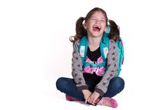 Zurück zu Schule - kleines lächelndes Mädchen lizenzfreies stockbild