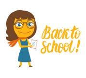Zurück zu Schule Lächelnder Karikaturlehrer des Vektors und beschriften Aufschrift Lizenzfreie Abbildung