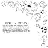 Zurück zu Schule-lineart Hintergrund Verschiedene Schulmaterialversorgungen Lizenzfreies Stockbild