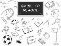 Zurück zu Schule-lineart Satz Verschiedene Schulmaterialversorgungen Stockbilder