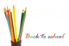 Zurück zu Schule mit Text der Bleistifte e Lizenzfreie Stockfotos