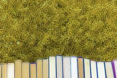 Zurück zu Schule sammelt einen Haufen von starken alten Büchern stockfoto