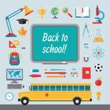 Zurück zu Schule - Satz Vektorikonen in der flachen Art für kreative Projektplanungen Lizenzfreie Stockfotos