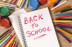 Zurück zu Schule Schreibtisch, Buch, schreibend Lizenzfreies Stockfoto