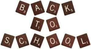 Zurück zu Schule Scrabblezeichen Stockfotos