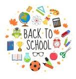Zurück zu Schule stellte Ikone in die runde Form ein, flach, Karikaturart Bildungssammlung Gestaltungselemente mit Briefpapier lizenzfreie abbildung