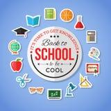 Zurück zu Schule und flachen Ikonen der Bildung mit Computer, offenes Buch, Schreibtisch, Kugel Vector flache Sammlung Aufkleber, Stockbild