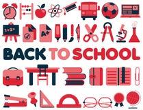Zurück zu Schule - Vektor-Ikonen Stockbild