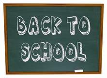 Zurück zu Schule - Wörter auf Tafel Stockbild