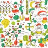 Zurück zu Schule: Wissenschaftslaborgegenstände kritzeln nahtloses Muster der Weinleseart-Skizzen, Lizenzfreie Stockbilder