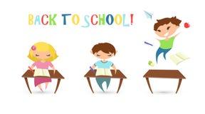 Zurück zu Schuleabbildung Glückliches Jungen- und Mädchenstudieren flach vektor abbildung
