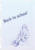 Zurück zu Schuleabbildung mit Mädchen Stockbilder