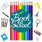 Zurück zu Schuleauslegung Satz Schulbedarf mit zurück zu Schulhand gezeichneter Beschriftung Linie, Polygon, scissor, Notizbuch,  lizenzfreie abbildung