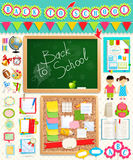 Zurück zu Schuleeinklebebuchelementen. Lizenzfreies Stockbild