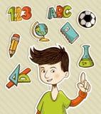 Zurück zu Schulekarikaturkind stock abbildung