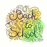 Zurück zu Schulekarte Altes gelbes Papier auf dunklem Hintergrund Vektorillustration mit Beschriftung Lizenzfreie Stockfotografie