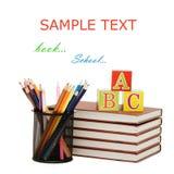 Zurück zu Schulekonzept mit Büchern und Bleistiften Lizenzfreie Stockbilder