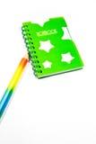 Zurück zu Schulenotizbuch und -bleistift Lizenzfreie Stockbilder