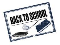 Zurück zu Schulestempelschwarzem Stockfoto
