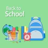 Zurück zu Schuletext Helles Design für Netz, Standort, Fahne, Plakat Lizenzfreies Stockfoto