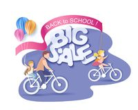 Zurück zu Schuleverkaufs-Kinderam 1. september radfahren lizenzfreie abbildung