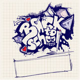 Zurück zu Schulezeichen (Graffitiart) Stockfoto