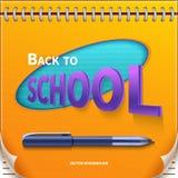 Zurück zu Schulfahne mit Notizblock Lizenzfreies Stockbild
