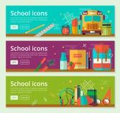 Zurück zu Schulfahnen-Konzeptdesign Vector horizontale Fahnen der Bildung mit Schuleinzelteilen Lizenzfreie Stockbilder