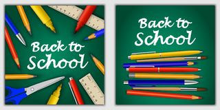 Zurück zu Schulfahnen-Konzeptsatz realistische Art lizenzfreie abbildung