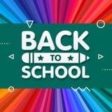 Zurück zu Schulfahnendesign mit Titel 3d und Bleistift im grünen Brett im Regenbogenfarbstrahlnhintergrund Vektor lizenzfreie abbildung