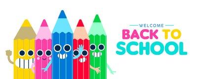 Zurück zu Schulglücklicher Bleistiftkarikatur-Netzfahne stock abbildung