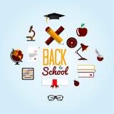 Zurück zu Schulhintergrund mit flachem Ikonen-Satz Lizenzfreies Stockfoto
