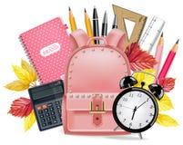 Zurück zu Schulkarte Vektor realistisch Der Kompaß und der Winkelmesser Rosa Schultasche, Wecker, Taschenrechner, Anmerkungsbuch, stock abbildung