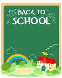 Zurück zu Schulplakat-Design Stockbild