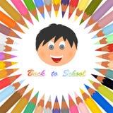 Zurück zu Schulplakat mit bunten Zeichenstiften in einem Kreis auf einem weißen Hintergrund und einer farbigen Aufschrift, die zu vektor abbildung