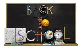 Zurück zu Schulplakat mit Text Stockfotos
