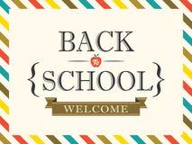 Zurück zu Schulpostkarten-Hintergrundschablone Stockfoto
