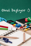 Zurück zu Schulschablone auf Türkisch Lizenzfreie Stockfotos