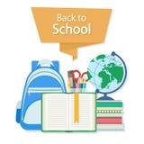 Zurück zu Schultext auf der orange Fahne Offenes Buch mit einem Bookmark und Schulbedarf wie einem Rucksack, Lehrbücher, Notizbuc Lizenzfreie Stockfotos