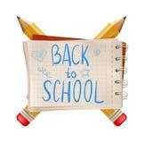 Zurück zu Schultext merken Sie wenn die Bleistifte auf weißem Hintergrund lokalisiert sind Auch im corel abgehobenen Betrag karik Stockbilder