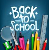 Zurück zu Schultitel-Wörtern mit realistischen Schuleinzelteilen lizenzfreies stockfoto